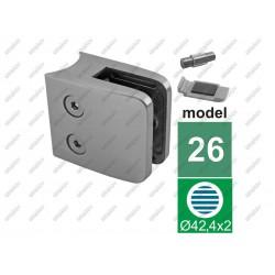 Uchwyt szkła model 24 do rury fi 42,4mm. aisi304,
