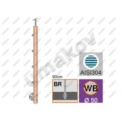 Drewniany słupek buk (beech) d50mm, 4xd12mm, v90c