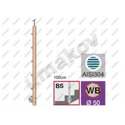 Drewniany słupek buk (beech) d50mm, 5xd12mm, v100