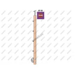 Stĺpik dub d50-4x12mm, v90cm, bk-rovné